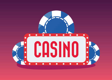 signboard chips casino game bets vector illustration