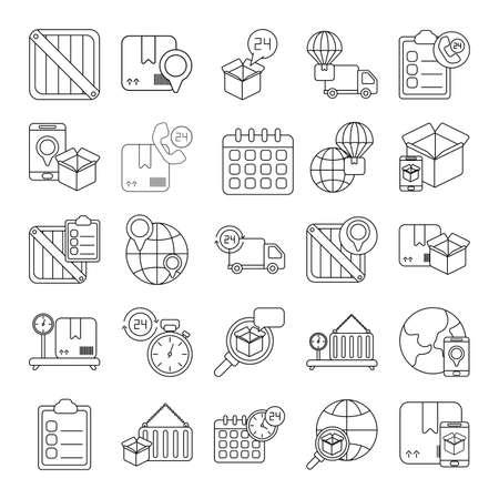 set of icons freight delivery logistics , line style icon vector illustration design Vektoros illusztráció
