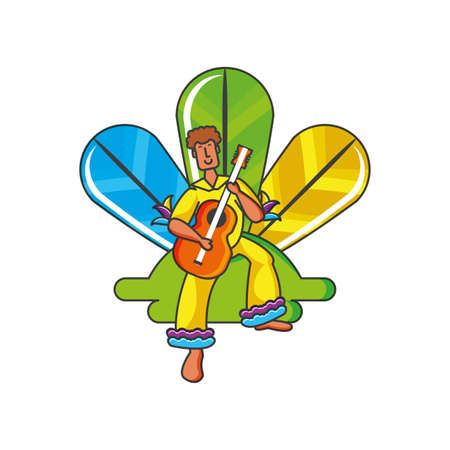 man brazilian dancer with guitar and feathers vector illustration design