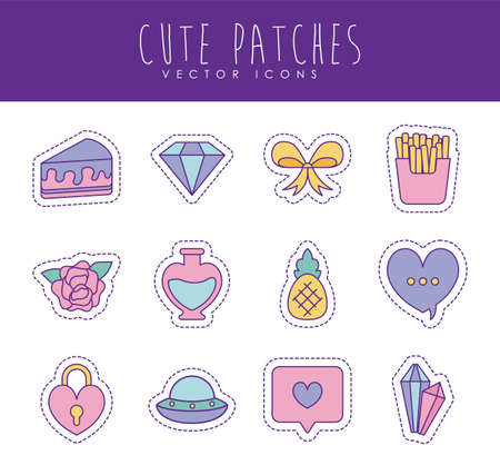 line and fill style icon set design, Cute patches expression emoticon and childhood theme Vector illustration Illusztráció