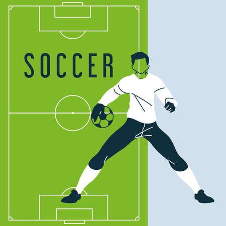 soccer goalkeeper with ball, template vector illustration design