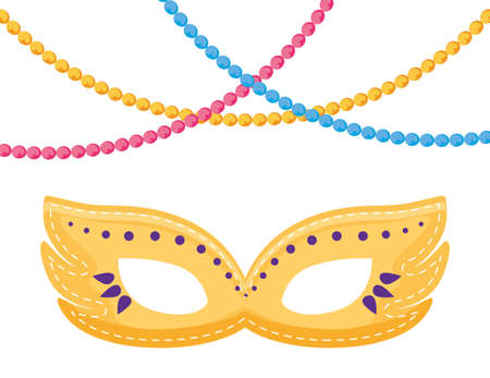 Mardi gras mask and necklaces design, Party carnival decoration celebration festival holiday fun new orleans and traditional theme Vector illustration