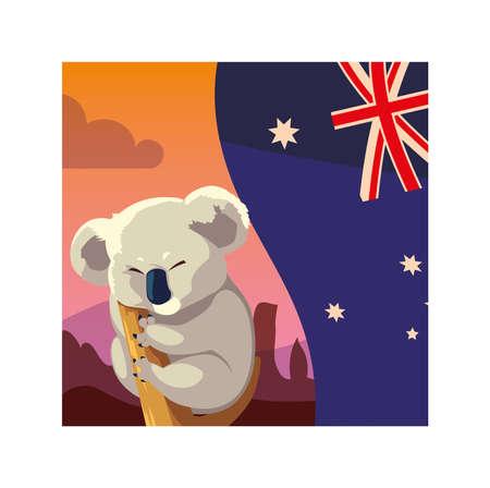 koala with australia flag in the background vector illustration design