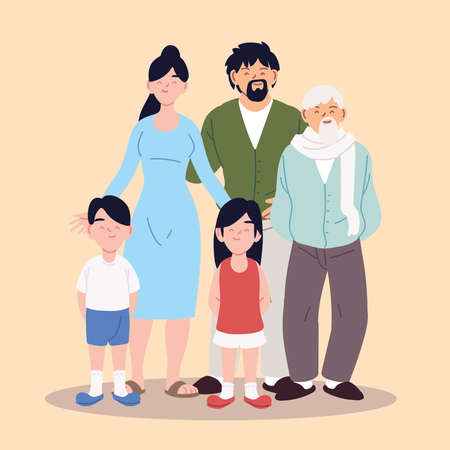 big family, parents, grandfather and children vector illustration design