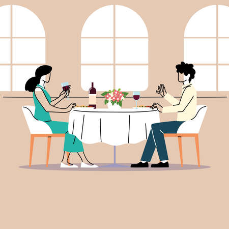 social distancing in restaurant, a man and a woman sitting eating, protection and prevention of coronavirus or covid-19 vector illustration design