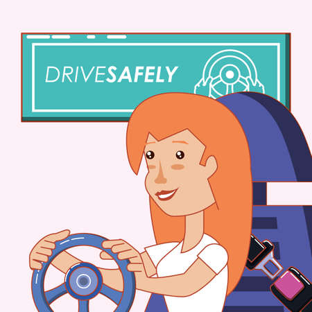 drive safely design with woman driving with the hands on steering wheel over pink background, colorful design vector illustration