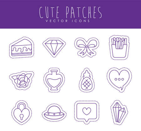 line style icon set design, Cute patches expression emoticon and childhood theme Vector illustration
