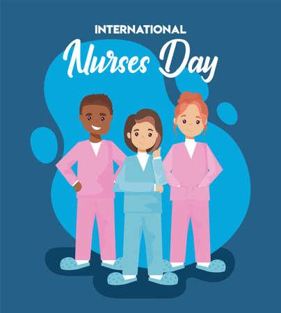 ernational nurse day, man and woman nurses