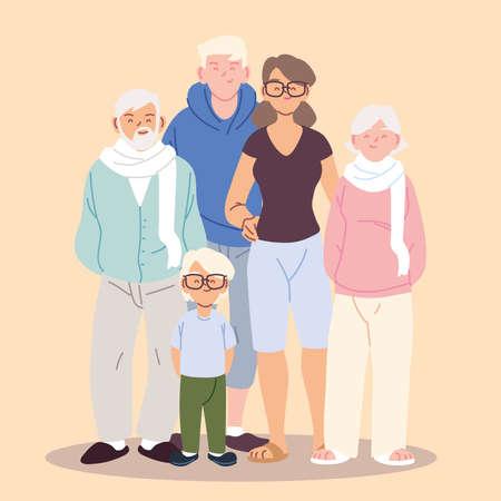 cute family, parents, grandparents and boy vector illustration design Vectores
