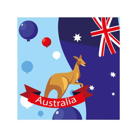 kangaroo in australia map, australian animal vector illustration design