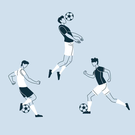 set of soccer players in action, soccer players with ball vector illustration design
