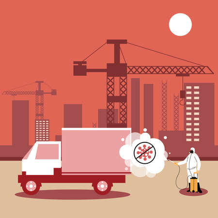 man in suits desinfecting vehicles in industry vector illustration desings