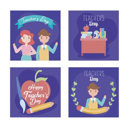 greeting cards happy teacher day vector illustration design