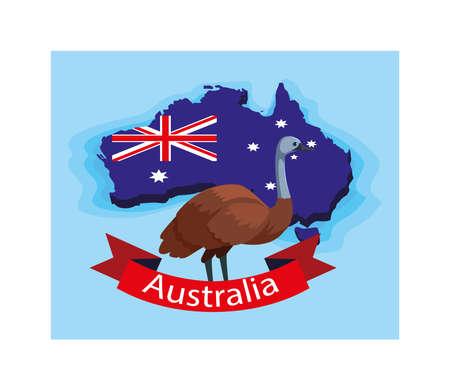 emu in australia map, australian animal vector illustration design