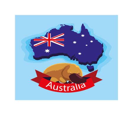 platypus in australia map, australian animal vector illustration design