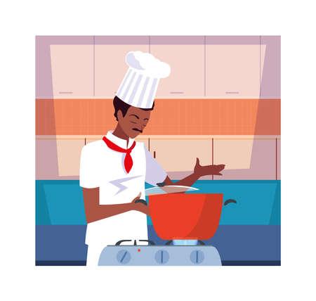 man cooking, chef in white uniform vector illustration design