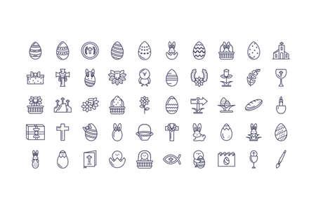 happy easter day icons set over white background, line style icon, vector illustration Ilustracje wektorowe