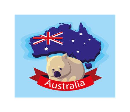 wombat in australia map, australian animal vector illustration design