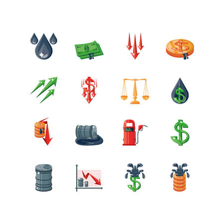 set of icons oil price on white background vector illustration design