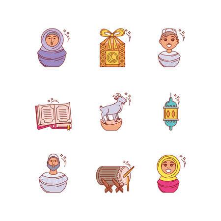 set of icons ramadan kareem vector illustration design