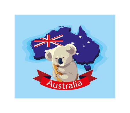 koala in australia map, australian animal vector illustration design