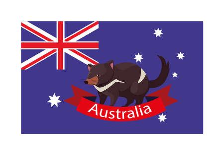 national flag of australia with native animal vector illustration design
