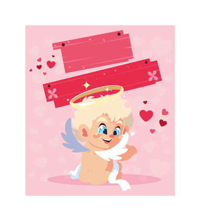 card valentines day with cupid angels vector illustration design