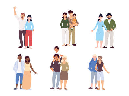 set of families, generations of families together vector illustration design