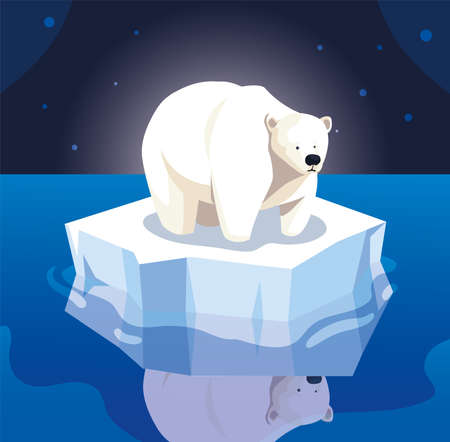 large polar bear on an ice floe drifting vector illustration design Stock Illustratie