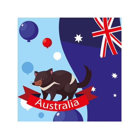 tasmanian devil with australia flag in the background vector illustration design
