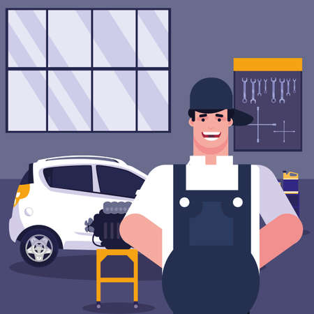 Repairman and car in garage design, Repair service maintenance job workshop labor work broken and professional theme Vector illustration