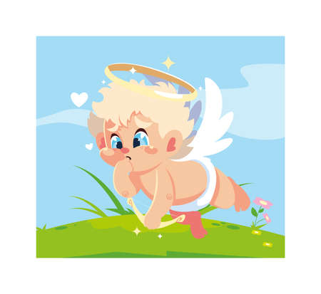 cupid angel aiming an arrow, valentines day vector illustration design