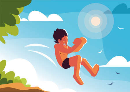 man jumping to the swimming pool with background landscape vector illustration design