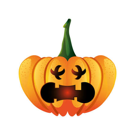 pumpkin with fear face for halloween in white background vector illustration design