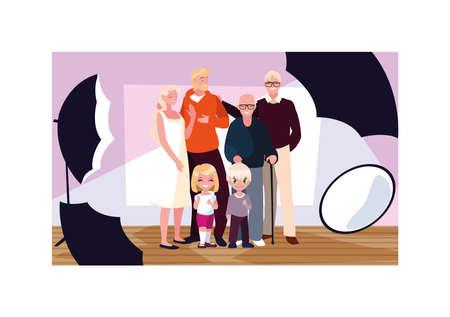 big family posing with cameras in photo studio vector illustration design