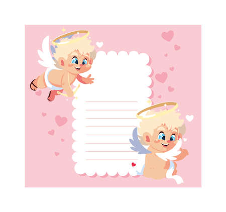 card valentines day with cupid angels , sheet to write vector illustration design
