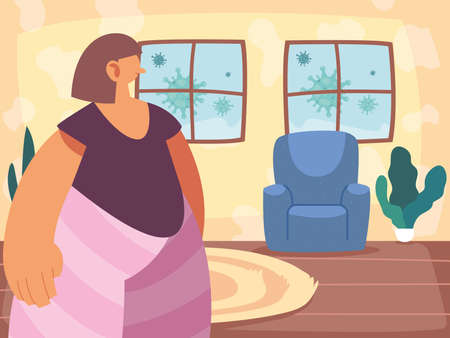 woman stays home to stop the outbreak and the spread of the virus vector illustration design