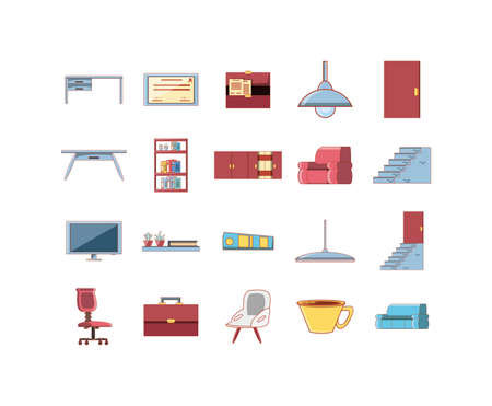 Icon set design, Home office room decoration interior living building apartment and residential theme Vector illustration