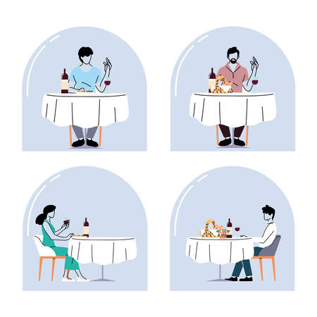 social distance in restaurant, people keep distance to avoid the spread of the coronavirus or covid 19 vector illustration design