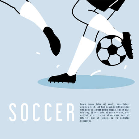 soccer player legs in action or moving with ball vector illustration design