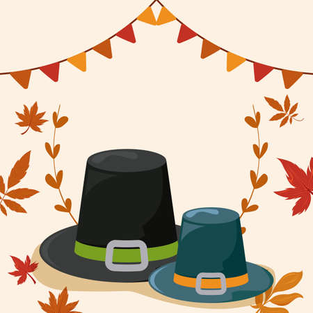 pilgrim hat with autumn leaves vector illustration design