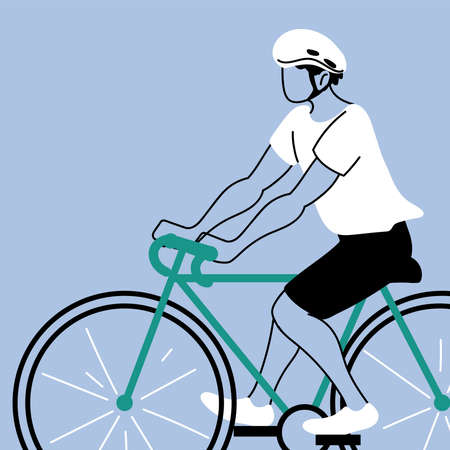 young man riding bicycle, man cyclist vector illustration design 向量圖像