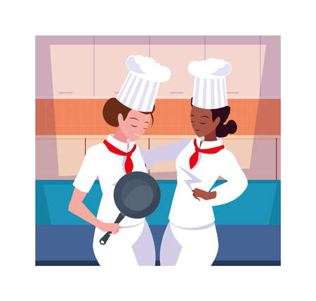 beautiful women cooking, chef in white uniform vector illustration design