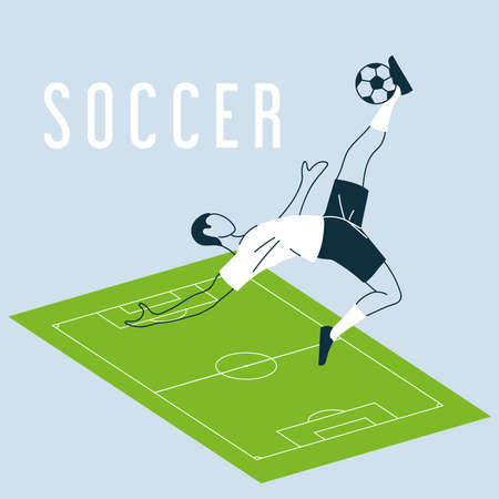 soccer player with ball, template vector illustration design