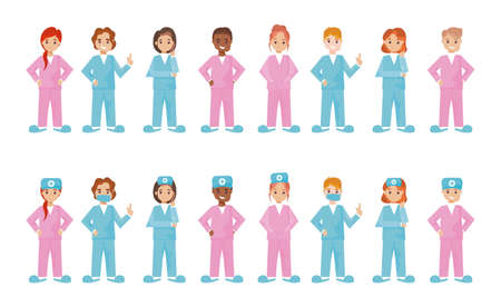 group of nurses in different poses on white background vector illustration design