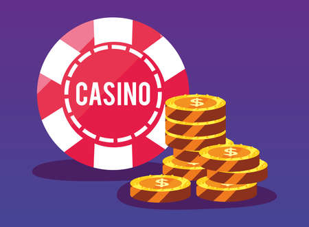 money gold coins chip casino game bets vector illustration Ilustrace
