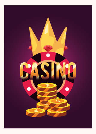crown chip coins casino game bets vector illustration