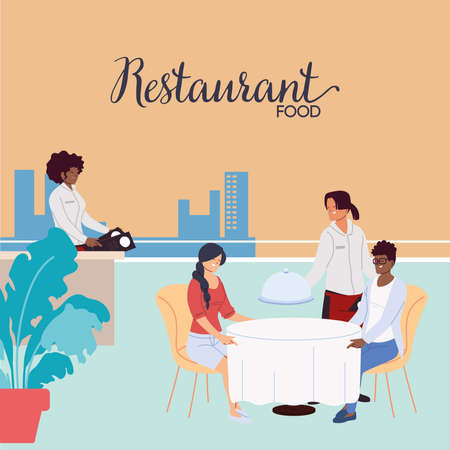 People dining in an upscale outdoor luxury restaurant and waiters taking the order vector illustration design 矢量图像