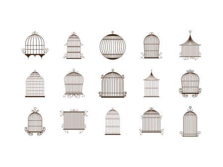 Birdcage icon set design, Vintage cute freedom prison decoration antique old object and retro theme Vector illustration
