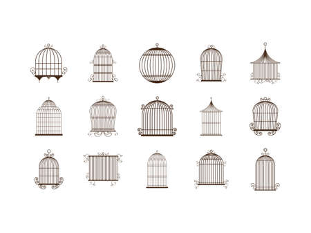 Birdcage icon set design, Vintage cute freedom prison decoration antique old object and retro theme Vector illustration  イラスト・ベクター素材